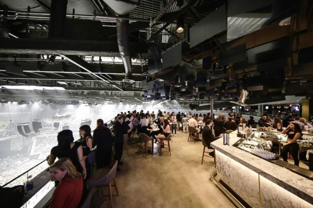 #tbt to one of our first projects last year. #greygoose bar in #lasvegas with @ragged_edge and @jasonjbailey in the #tmobilearena. Just found the photos! #interiordesign #vegas #concrete #marble #brass #stadium #vodka #niceview!