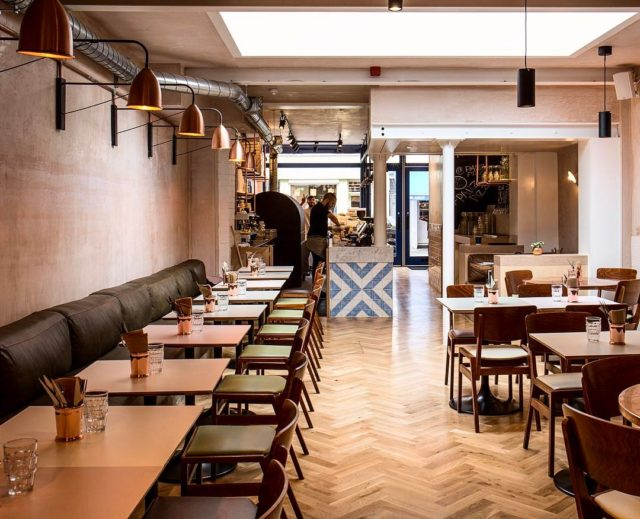 One from last year, pizza joint on #exmouthmarket. #oak #marble #plaster  #leather #parquet #copper #london #interiordesign #restaurant #pizza @exmouth_mkt