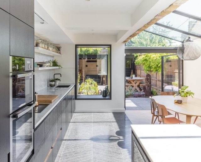 2/3 Our recently completed house in hackney, London. More on our website. Photography by @nicholasworley_ . . . #london #architecture #interiordesign #glassextension #chevron #hackney #mansard #kitchen #oak #marble #granite #windowseat