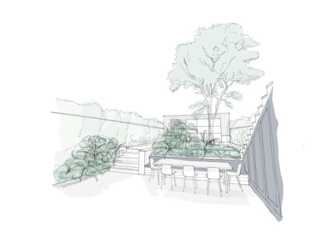 Garden sketching. . Ideas for a newly landscaped garden, new terrace and timber clad garden studio, as part of a residential refurbishment and extension we're working on in Kensington. . #architecture #design #landscape #ideas #inspiration #garden #gardendesign #designinspiration #athome #studio #architecturelovers #architect #sketching #sketcheveryday